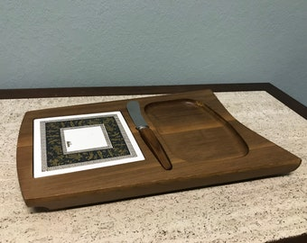Mid Century Melcor Wood Cheese Tray With Knife