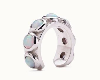 Sterling Silver Ear Cuff Earring Blue Opal Stones Inlay Ear Wrap Earrings Boho Jewelry - ECU009 OP36
