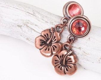 Hibiscus Flower Earrings Copper Jewelry - Custom Color or Pink and Copper Earrings Tropical Floral Beach Jewelry Gift for Women