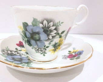 Royal Ascot Tea Cup and Saucer, Antique Teacups, Floral Tea Cups, Vintage Tea Party, Wedding Shower Gift, Made in England, Shabby Chic