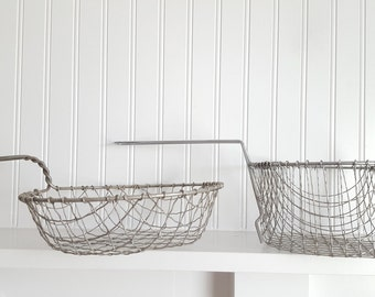 Two Vintage Boil Wire Baskets, Industrial Storage, Vintage Farmhouse Decor, Silver