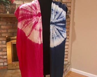Hand dyed scarf, Shibori technique,pure chiffon silk, Organic vegetable/Plant dyes - Blue and pink colors