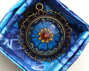 Divine Flower Necklace Floral Art Blue Design Henna Mehndi Vintage Style Hand Drawn Handmade Jewelry Happiness Symbolism