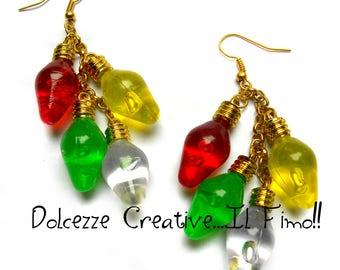 Rows of Christmas lights - earrings colorful bulbs - kawaii handmade gift idea - cute