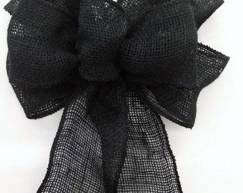 Black Burlap Bow
