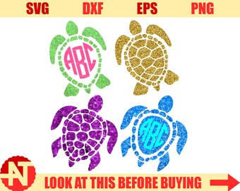 Sea Turtle Svg Sea Turtle Monogram Svg sea life svg under the sea svg svg files for Cricut Silhouette Vector cut files