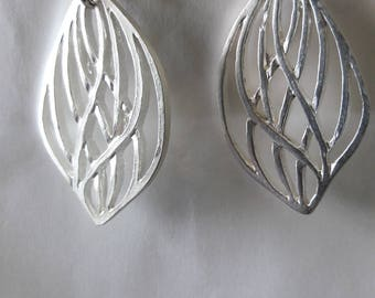 Silver small tribal leaf earrings