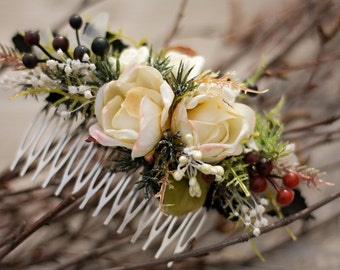 Winter flower hair comb, floral hair comb