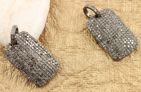 Pave diamond pendant pave dog tag pendant diamond dog tag mozeypictures Images
