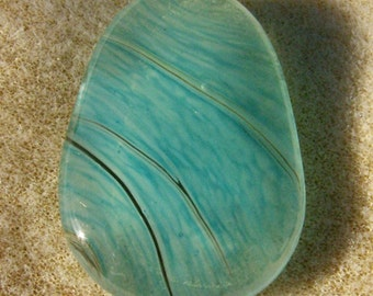 Handmade Teal Cabochon - Fused Glass Teardrop Gorgeous by JewelryArtistry - DC396