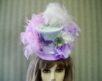 Kentucky Derby Mini Top Hat, Tea Party Hat, Garden Party Hat, Green and Lavender, Belmont, Horse Race Hat, Alice in Wonderland Hat, Lolita