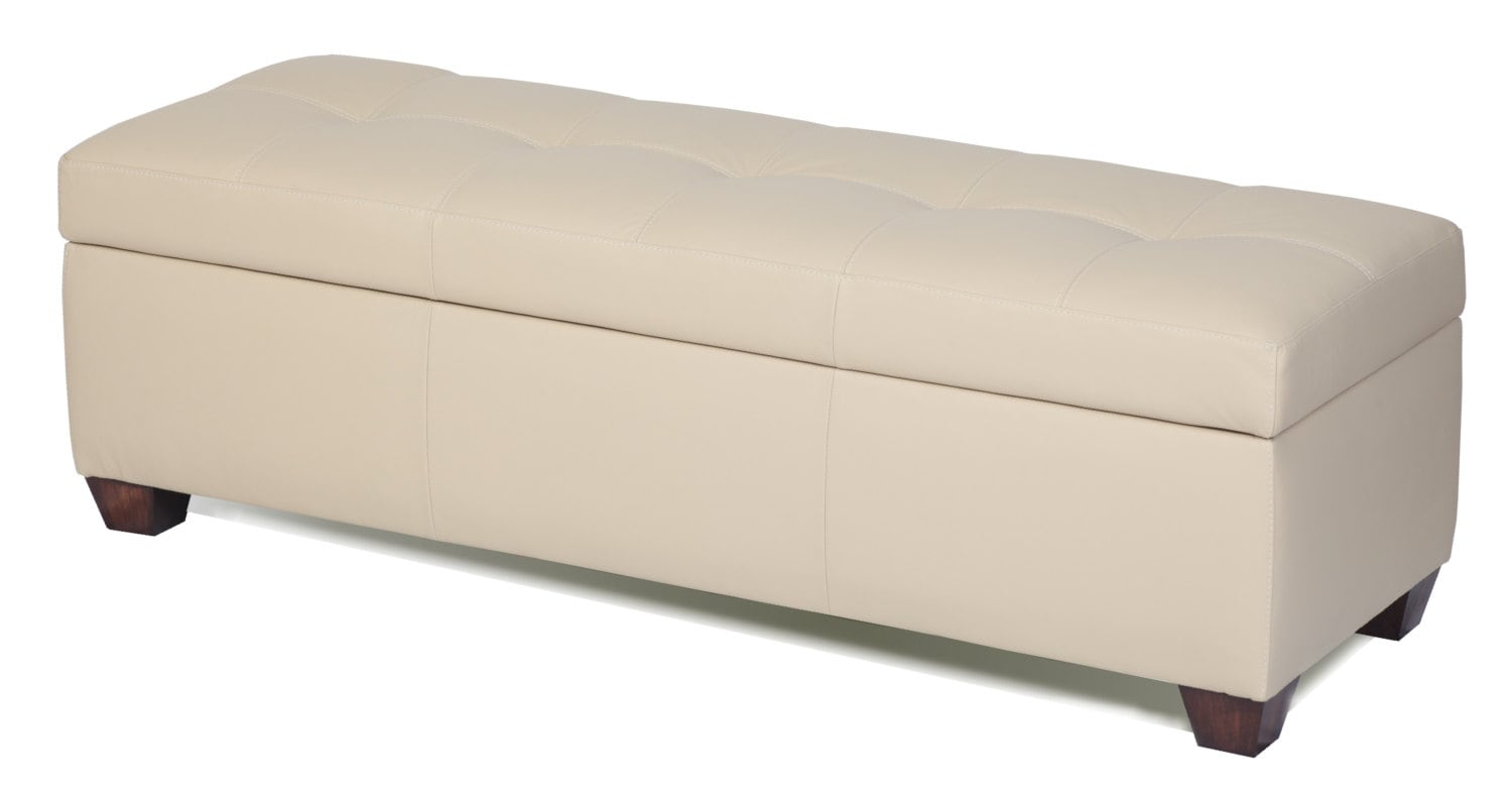 King Size Genuine Leather Storage Bench In Bone Color