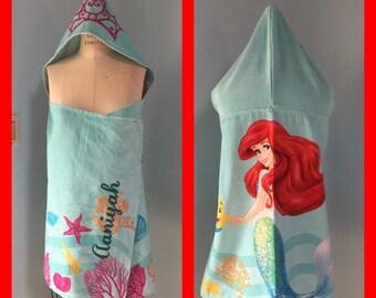 "Mermaid Hooded Towel Bath Wrap Ariel Towel - Personalized Disney Little Mermaid Ariel ""Shimmer and Gleam"""