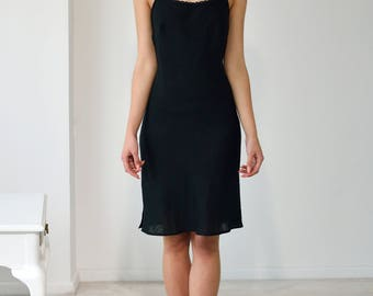 Linen Black Slip Laced/Linen Underwear/Linen Night Dress Fitted/ Linen Nightgown For Woman/ Flax Gown/ Linen Lingerie