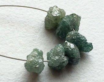1 Piece Large Hole Bead, Blue Rough Diamond Beads, 1mm Drilled Blue Diamond Briolettes, 6-8mm, DS4053A