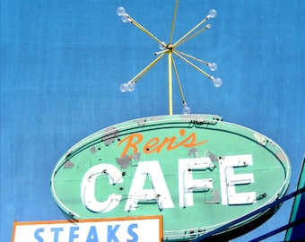Vintage Sign Photography - Ren's Cafe Print - Mid-Century Atomic - Googie Neon Sign Photo - Retro Urban Decor - Old American Signage - 8x10