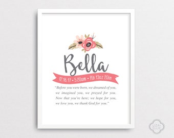 Custom birth print etsy bella personalized baby gift baby name wall art custom baby name print negle Image collections