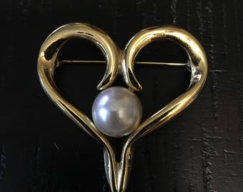 Heart and Pearl Brooch