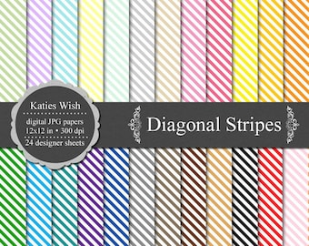 Diagonal Stripes Digital Commercial Use Kit 12x12 inch jpg files Instant Download