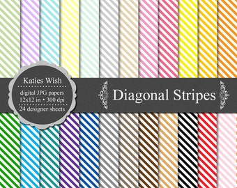 Diagonal Stripes Digital Commercial Use Kit 12x12 inch jpg files Instant Download