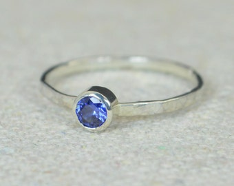 Small Sapphire Ring, Hammered Silver Ring, Stackable Rings, Mother's Ring, September Birthstone Ring, Skinny Ring, Mothers Ring