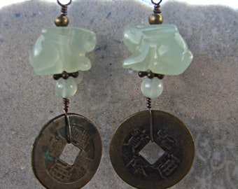 Bermese Jade Bunny with Chinese Coins Earrings