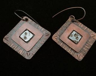 Womens dangle earrings mixed metal diamond shaped in bronze, copper and fine silver earrings textured rustic earrings primitive boho jewelry