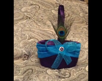 custom made wedding flower girl basket dark purple and turquise
