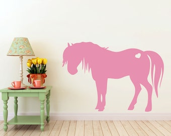 3 foot tall Pony, horse with heart vinyl Wall DECAL- Animal interior design, sticker art, room, home and business decor