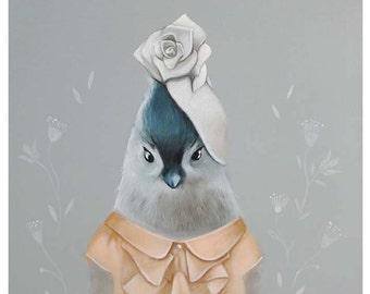 Whimsical Bird Art, Acrylic Bird, Print of grey Titmouse bird painting, gender neutral decor, nursery decor Titmouse bird, animal in clothes