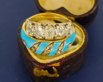 Victorian Light Blue Enamel Ring with Diamonds 18k Gold