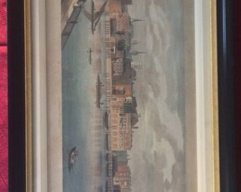 Spectacular ANTIQUE/VINTAGE PRINT of an English cityscape scene with Bridge, Brewery, Church, etc... double wood matting, orig. price 325!