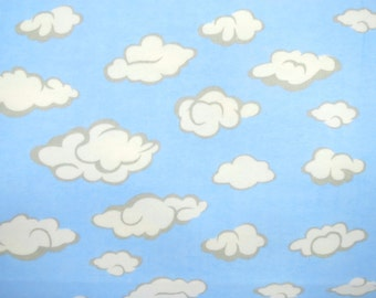 Flannel Fabric by the Yard in a Light Blue with White Cloud Print 1 Yard