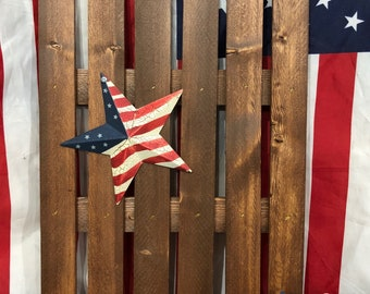 Patriotic Decor 4th Of July Decor Country Decor Rustic Picket Fence Decor  Red White And Blue