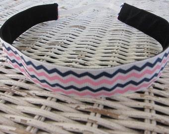 Blue & Pink Chevron Headband - Girls Fashion Headband