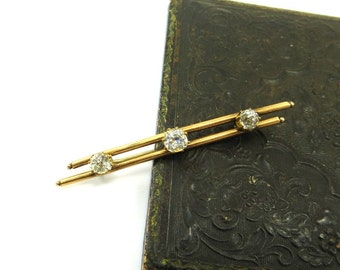 Antique Victorian Brooch Gold Filled Bar Pin Pinchbeck Paste Rhinestone Jewelry 1880s Antique Jewelry