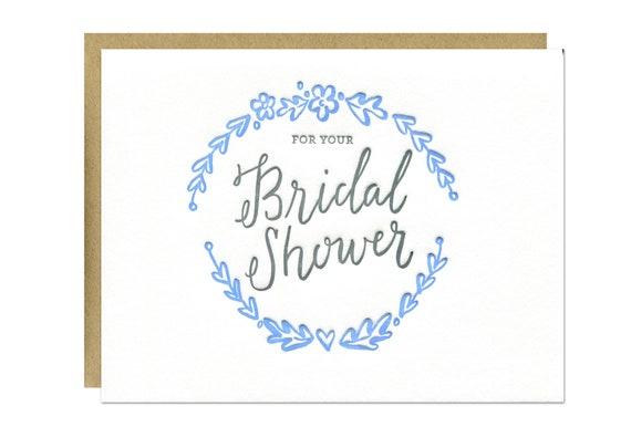 Bridal shower card letterpress wedding shower greeting card m4hsunfo