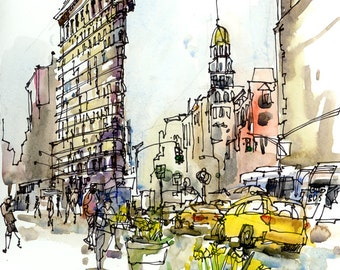 New York sketch , Flatiron Building, New York City Archival Print from a watercolor sketch
