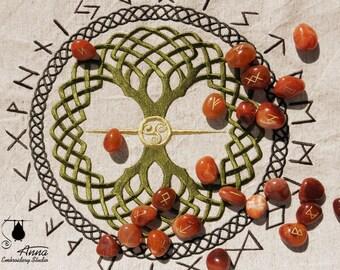 Rune casting cloth. Yggdrasil. 19-20 inch. Witchcraft supplies. Rune cloth. Rune reading. Wiccan supplies. Divination tools. Elder futhark
