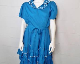 Vintage Jeri Bee Teal Square Dancing Dress Size 10