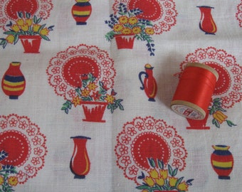 Antique Vintage Quilt Feedsack Fabric Bundle Scraps Novelty Red Lace Doily Flower Pot  & Spool of Thread