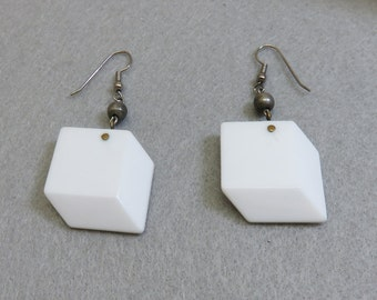 1960s White Lucite Geometric Block Pierced Earrings