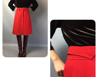 Red skirt 1980s Vintage skirt Wool skirt Midi skirt Fall skirt Warm skirt High waist skirt A-line skirt 80s skirt Office skirt Suit skirt