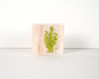 Cactus Art Block, String Art, Art Blocks, Boho Art, Wood Block Art, Small Art, Art Block, Shelf Art, Lime Cactus, Cactus Print