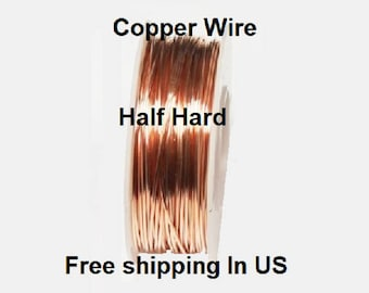 1/4 Lb. Round Solid Copper Wire ( Half Hard ) On Spool - 99.9% Pure Copper ( Gauges - 12 - 14 - 16 - 18 - 20 - 22 - 24 - 26 - 28 - 30 )