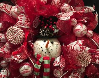 Wreath snowman pepperment
