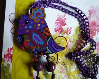 Dominant purple multicolor resin bird necklace
