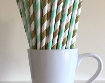 Mint Green and Gold Striped Paper Straws Party Supplies Party Decor Bar Cart Cake Pop Sticks Mason Jar Straws  Party Graduation