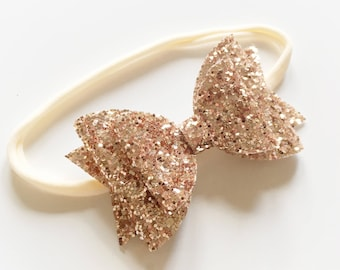 Double glitter rose gold bow on nylon headband - baby toddler headbands, one size headband