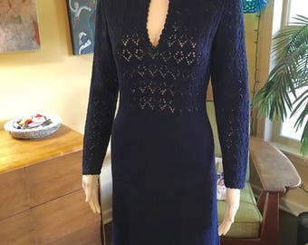 Vintage 70s Maxi Pointelle Knit Dress Formal Gown sweater Navy Blue by Picardo Knits Size Medium